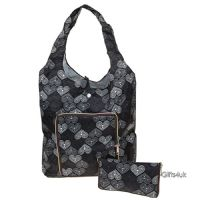 GREY BLACK HEARTS - Handybag Re-Usable Folding Eco Shopping Bag